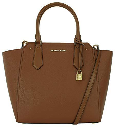 Michael Kors Hayes Shoulder Bag Large Leather Handbag (Luggage Brown)
