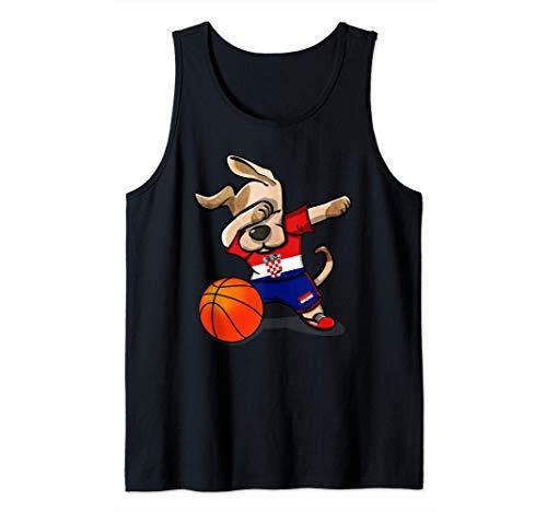 Funny Dabbing Dog Hund Kroatien Basketball Kroatische Flagge Tank Top