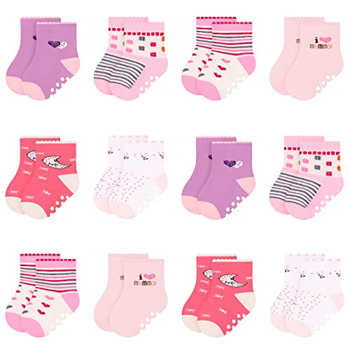 L&K-II 12 Paar Antirutschsocken Baby Socken Bunt Stoppersocken Kinder Antirutschsocken Kinder Anti Rutsch Socken Baby Stoppersocken für 0-12 Monate Alte Neugeborene Mädchen 2835 16-18