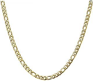 60 سم فيجارو بانك نمط ربط سلسلة الفولاذ المقاوم للصدأ لون الذهب الأزياء قلادة قلادة للرجال رائعة هدية مجوهرات