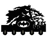 Batman Wall Hook 20LBMax Load Key Hooks | Handmade Wood Home Storage Wall Hooks | Five Metal Hooks Key Holder Coat Bag Hanger.