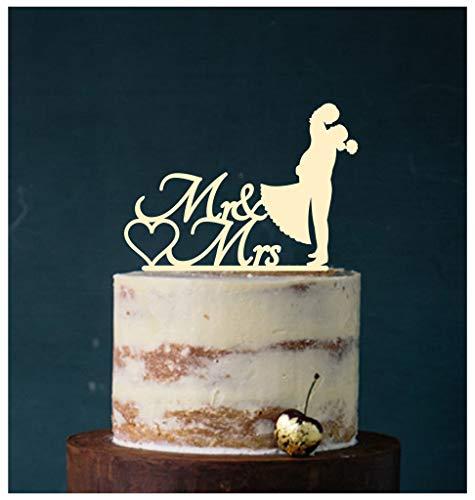 Cake Topper, Kuss, Tortenstecker, Tortefigur Acryl, Tortenständer Etagere Hochzeit Hochzeitstorte Kuchenaufstecker (Elfenbein)