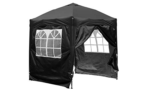 BIRCHTREE Waterproof 2m x 2m Pop Up Gazebo Marquee Garden Awning Party Tent Canopy 210D Oxford Cloth Powder Coated Steel Frame With Anchor Kits Black