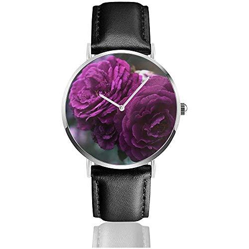 Purple Rose Flowers Reloj Unisex Reloj Deportivo PU Banda de Cuero Cua