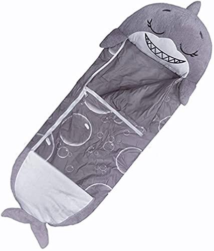 Happy Nappers - Saco de dormir para niños, saco de dormir de tiburón, súper suave, 2 en 1, divertido almohada y sueño para niños, (gris, 140 x 50 cm)