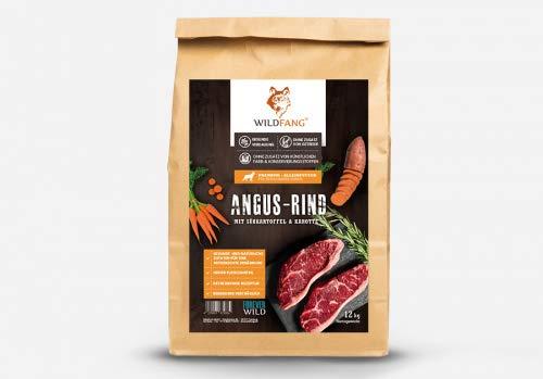 Wildfang® Hundefutter Trocken - 2kg - Getreidefreies Hundefutter – Angus Rind mit Süsskartoffel & Karotte | Ideal für ausgewachsene Hunde