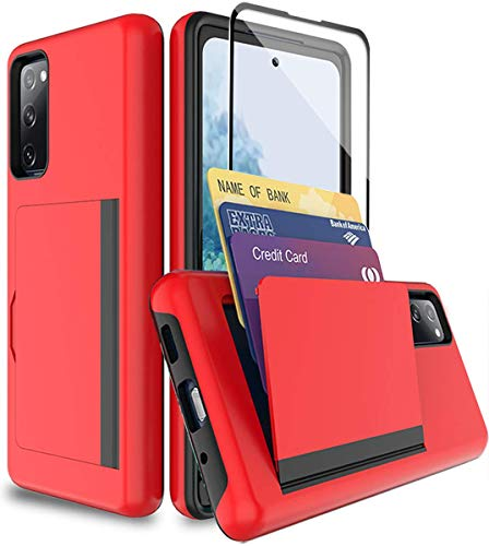 SunRemex Galaxy S20 Fe 5G Case with Tempered Glass Screen Protector,Galaxy S20 Fe 5G Card Holder Case Kickstand with Credit Card Protective Wallets Cover for Samsung Galaxy S20 Fe 5G Phone (Red)
