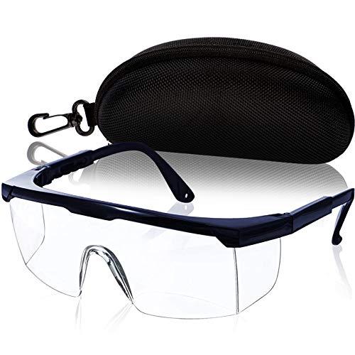 Gafas de protección para los ojos, gafas de trabajo con cristales transparentes, incluye caja protectora (azul)