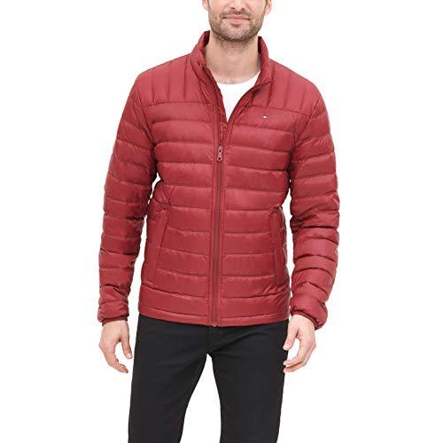 Tommy Hilfiger Men's Packable Down Puffer Jacket, Red, Medium