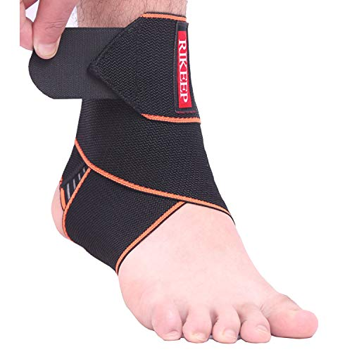 Ankle Support,Adjustable Ankle Brace Breathable Nylon Material Super Elastic and Comfortable,1 Size Fits All,Suitable for Sports (Orange 1)