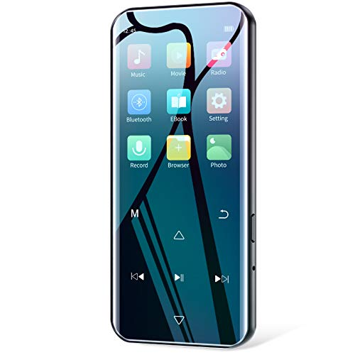 """32GB MP3 Player with Bluetooth 5.0, HiFi Lossless Music Player with FM Radio, Voice Recorder, 2.4"""" HD Screen, Portable Ultra-Thin Metal MP3 Player for Walking Running, Support up to 128GB"""