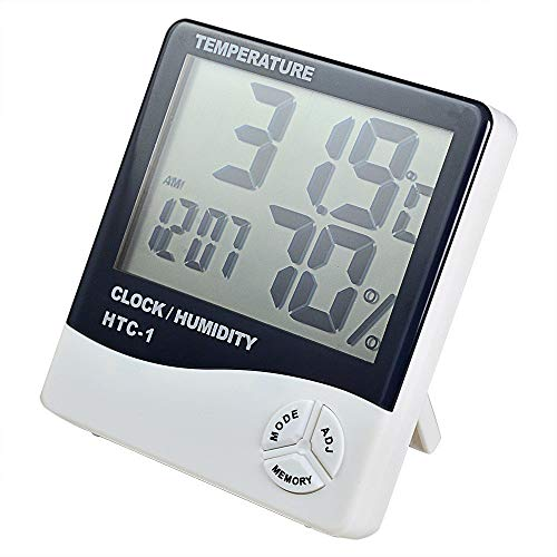 Acromec Measurement Room Temperature Device Meter Humidity Monitor HTC-1 Incubator with Rest Stand and Accurate Indoor LED Thermometer Display & Wall Mount Clock (White)