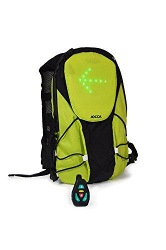 Jocca 6226P Mochila Ciclista con Luces Led para Señalización, Unisex Adulto, Negro y Verde, Talla Única