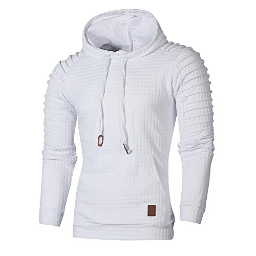 GOVOW Men's Outerwear Light Jackets Autumn Long Sleeve Plaid Hoodie Sweatshirt Top Tee Blouse (X-Large, White)