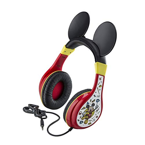 eKids Mickey Mouse Headphones For Kids, Adjustable Over the Ear Headphones, 3.5mm Jack Wired Headphones with Parental Volume Control, for Fans of Mickey Mouse Gifts