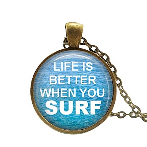 Vidrio y metal Surfing collar regalo para surfista chica collar regalo para surfista hombre tabla de surf collar océano surf surf agua collar v