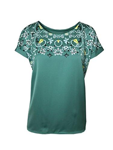 Marks & Spencer T-shirt en satin sur le devant Motif floral Vert Taille 10-22 M & S, Vert, 38