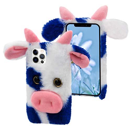 Cestor Weich Plüsch Handyhülle für Samsung Galaxy S20 FE,Niedlich 3D Kuh Ochse Winter Warm Pelzig Flauschige Faux Pelz Stoßfest Silikon Hülle,Blau Weiß