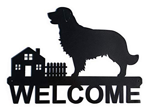 Golden Retriever Welcome Sign | Dog Welcome | Golden Retriever | Wall Art | Metal Welcome Sign | Decorative Indoor Outdoor Sign | Black Finish 15'x10.75'