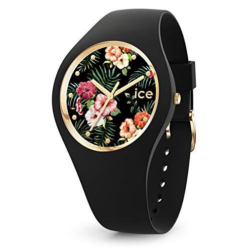 ICE-WATCH ICE Flower Colonial - Reloj Negro para Mujer con Correa de Silicona, 016671 (Medium)