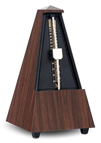Classic Cantabile Metronom M03 mit Glocke (mechanisches Metronom, 40-208 bpm, 5 Taktarten, robustes Kunststoffgehäuse) braune Holzmaserung