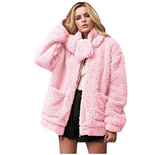 Damen Wintermantel Frauen beiläufige Feste Faux Pelz Tasche Outwear Strickjacke Tasche Lose Schal Mantel Basic Stylisch Warm Dick Herbst Wintermantel(Pink,XL)