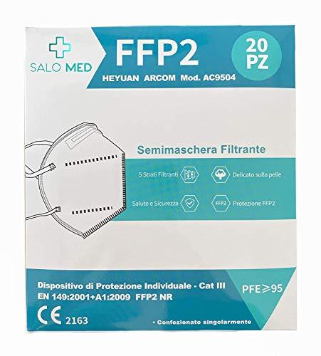 20x SALO MED - MÁSCARAS FFP2 - ARCOM MASCARILLAS FFP2 CERTIFICADO CE - 20 Piezas