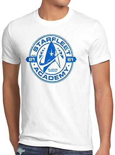 style3 Starfleet Academy Herren T-Shirt Trekkie Trek Kirk Spock, Größe:XXXL, Farbe:Weiß