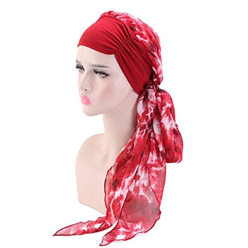 Boomly Damen Mädchen Blumen Turban Chiffon Stirnband Kopfbedeckungen Strecken Wrap Kappe Retro Kopftuch Turban Kappe Für Krebs, Chemo, Haarausfall, Schlaf (Wein Rot)