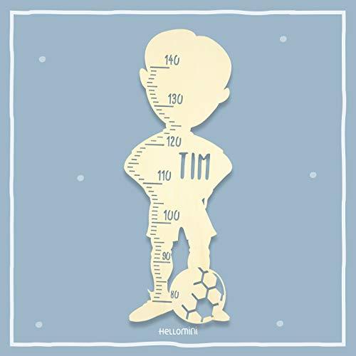 Messlatte Kind personalisiert, Größe messen Kicker Fussball Fußball Kinderzimmer Kindermesslatte Tauf-Geschenk/zur Geburt/Personalisiert mit Name für Mädchen oder Junge Babyzimmer Größenmesser