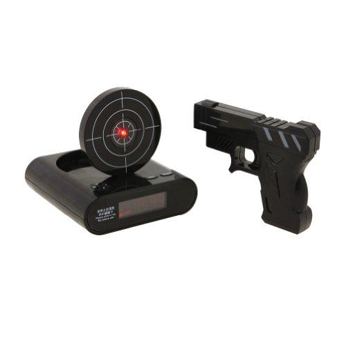 Tera® LCD Infrarot Wecker Digitalwecker Shooting Alarm Clock mit Zielscheibe Laserpistole Gun (Weiß / Schwarz)