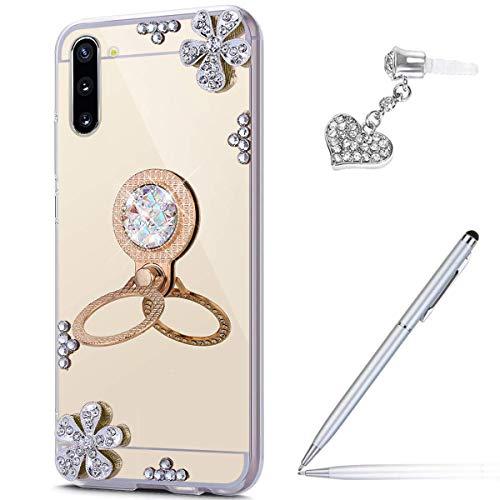 Funda para Galaxy Note 10, carcasa con diamantes de imitación incrustados con diamantes de imitación, carcasa de poliuretano termoplástico con espejo y soporte para anillos,...