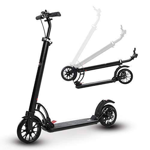 ISE Oversize - Patinete plegable de aluminio, doble sistema de freno y suspensión, altura ajustable, 200 mm, gran rueda, rodamientos ABEC-9, City Scooter para adultos y niños, hasta 100 kg, SY-AS1005