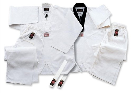 M.A.R International Wtf Approved Taekwondo Uniform V-Neck GI Suit Outfit Clothing Gear White 140CM