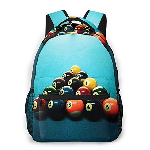 RAHJK Rucksack Typ Casual Schulranzen Rucksäcke Wasserdichter Stil für Laptop bis 14 Zoll (35,6 cm) beeindruckender Billardtisch