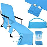 OurLeeme Sun Lounger Towel, Sun Lounger Beach Mat Silla de Playa Cubierta de Toalla Plegable 210x75cm con Bolsillo Lateral (Azul)