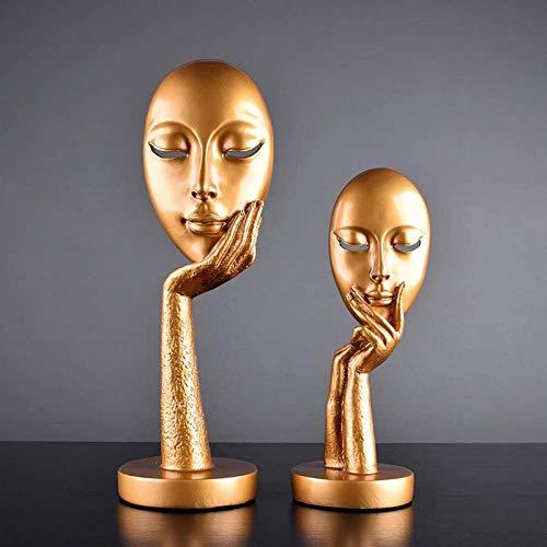 JJDSN Artesanas abstractas de estatuas de Cara de Mujer, esculturas de Resina, Figura de Personaje Hecha a Mano para decoracin del hogar, Adornos de Arte Retro Moderno para Dama, 2 Piezas de Oro