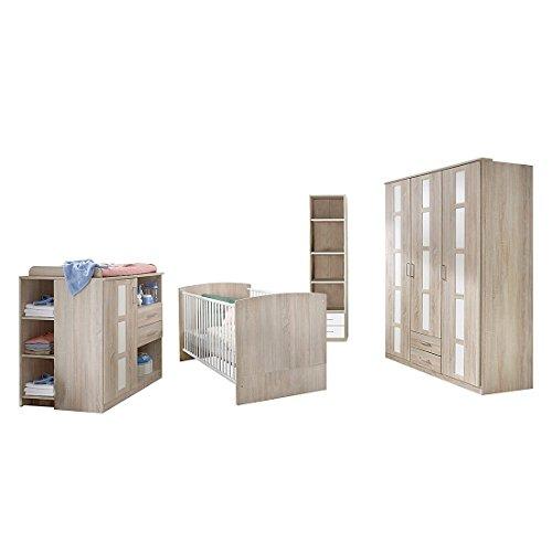 Wimex Babyzimmer Set Bambi, bestehend aus Kleiderschrank, Wickelkommode und Babybett, Liegefläche 70 x 140 cm, Eiche sägerau-Nachbildung