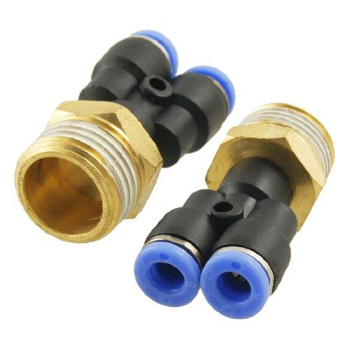 2 stuks pneumatische 1/5,1 cm schroefdraad 6 mm push in Y-vorm snelverbinder