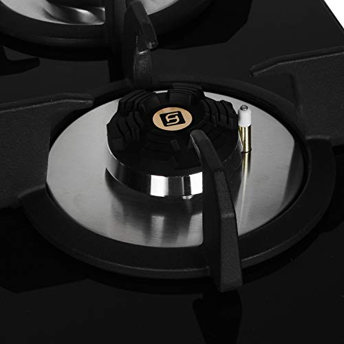 Faber Hob/Hobtop 3 Brass Burner Auto Electric Ignition Glass Top (Maxus HT603 CRS BR CI AI) Black