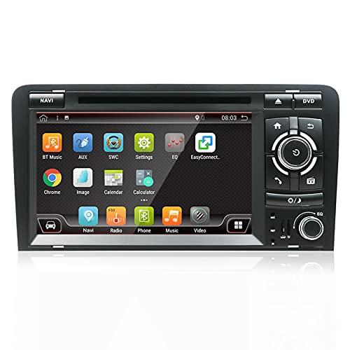 LIBINA Adecuado para Reproductor Multimedia Audi A3, estéreo de Coche Android Double DIN 2006-2011 navegación   Soporte GPS WiFi 4G Volante Dab + Carplay