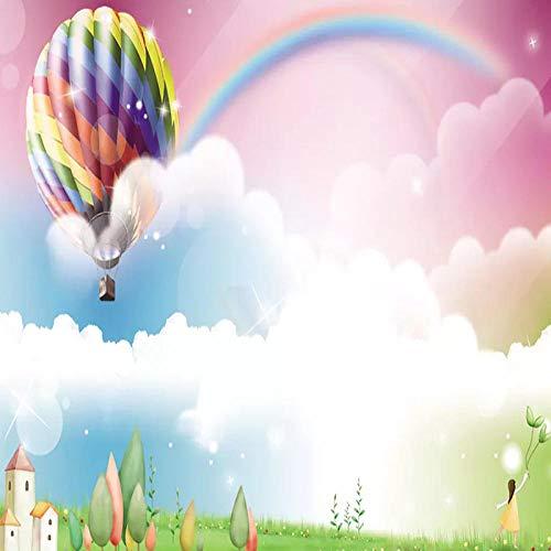 TDYNJJ Mural Vlies Fototapete - Cartoon Ballon Regenbogen Niedlichen Mädchen Schloss Pflanze - Fototapete Kinderzimmer - Vliestapete Kinder - Vlies-Tapete Kinderzimmer Mädchen - Geschenk Dekoration