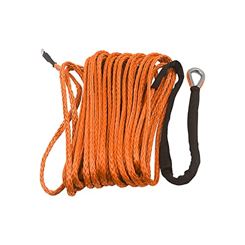 """TYT 3/16"""" x 50ft Synthetic Winch Rope, 7000 lbs Winch Line Cable Rope with Black Protective Sleeve and Sheath, 12 Strands Braided Ultra Tough Nylon Rope, Fit for Off Road Vehicle ATV UTV SUV (Orange)"""