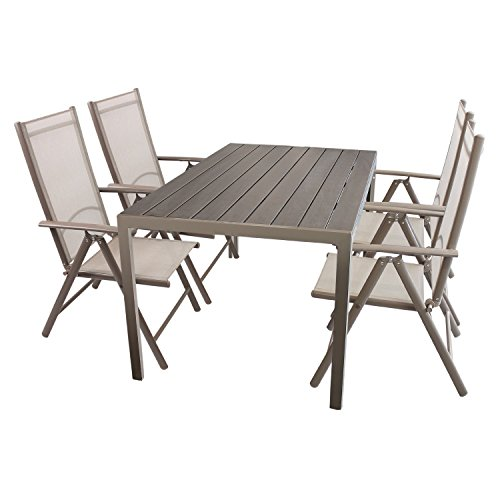 Multistore 2002 5tlg. Gartenmöbel Set Sitzgruppe Aluminium Polywood/Non Wood Gartentisch 150x90cm + 4X Hochlehner mit Textilenbespannung klappbar Gartenstuhl Klappstuhl