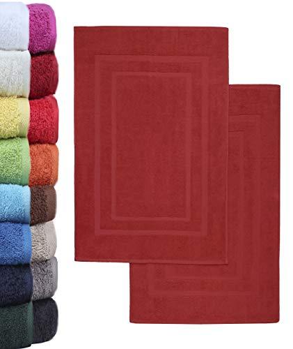 NatureMark - Lot de 2 Tapis de Bain, 100% Coton, 50x80cm, Rouge Bordeaux