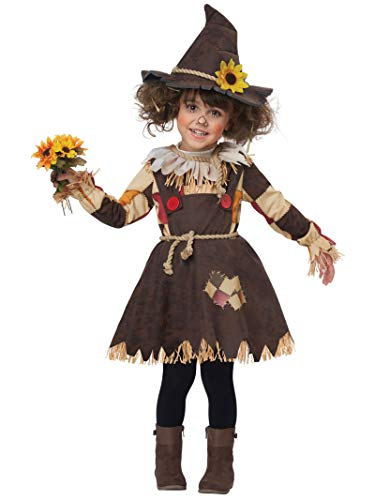 Girls Toddler Pumpkin Patch Scarecrow Costume 3T/4T Brown