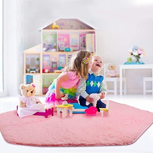 Magicfun Tappeto Coral Fleece per Tenda, Tappeto da Terra Tappetino da Gioco Decorativo per Bambini 125 x 125cm, Rosa