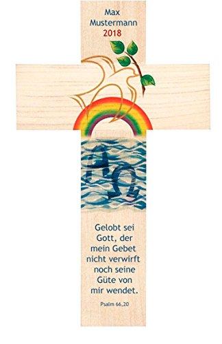 wortimbild Holzkreuz 20x12 cm Taufe oder Geburtstag mit Namen des Kindes