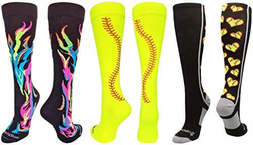 MadSportsStuff Flame Stitch Love Softball Socks Softball Pack (Softball Pack Multi, Medium)