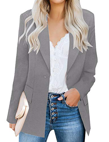 luvamia Women's Long Blazer Jacket Casual Notched Lapel One Button Work Office Blazer Jacket Suit Grey Size Large (Fits US 12-14)